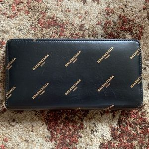 Balenciaga All Over Logo Wallet for Women in Black